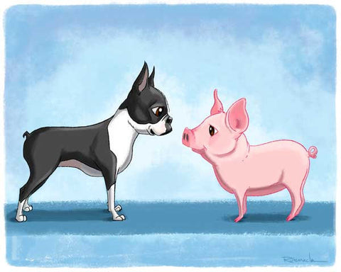 Boston terrier art, boston terrier art print, boston terrier with pig, pig art print, boston terrier gift, boston terrier wall decor