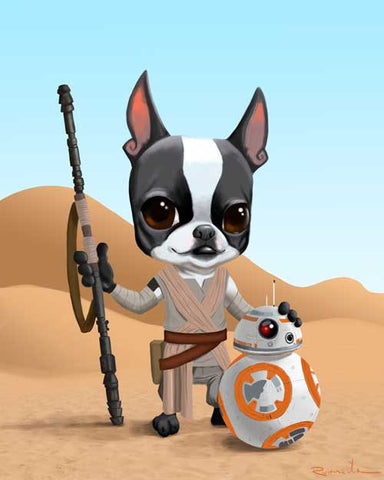 Boston terrier art, Rey and bb-8, Boston Terrier star wars dog art print