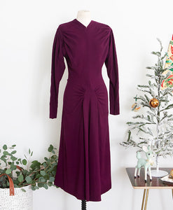 1940s Dorothy O'Hara Purple Wool Dress