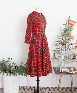1940s 50s Plaid Dress