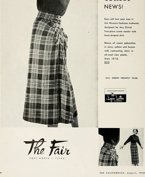 Late 40s Plaid Skirt by Western Fashions