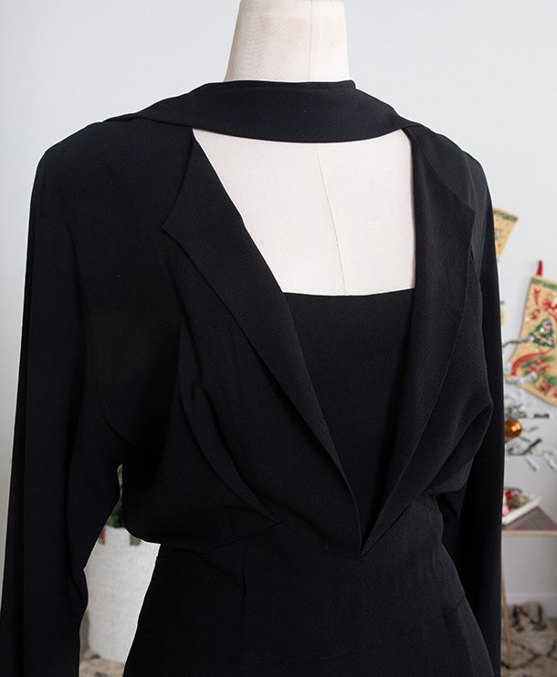 Late 1940s Adrian Original Black Cocktail Dress
