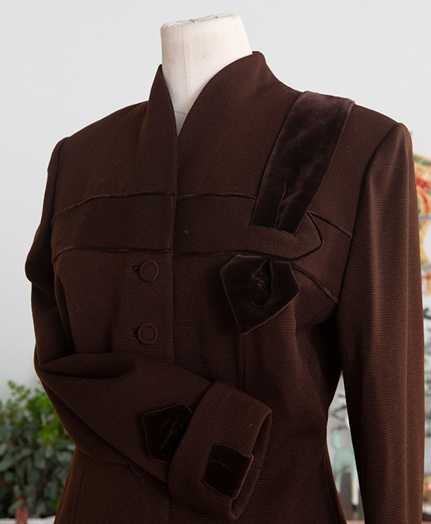 1950s Lilli Ann Brown Wool Velvet Suit