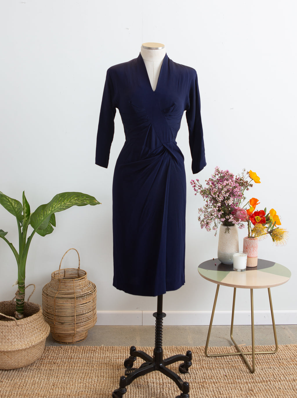 1950s Dorothy O'Hara Navy Blue Dress