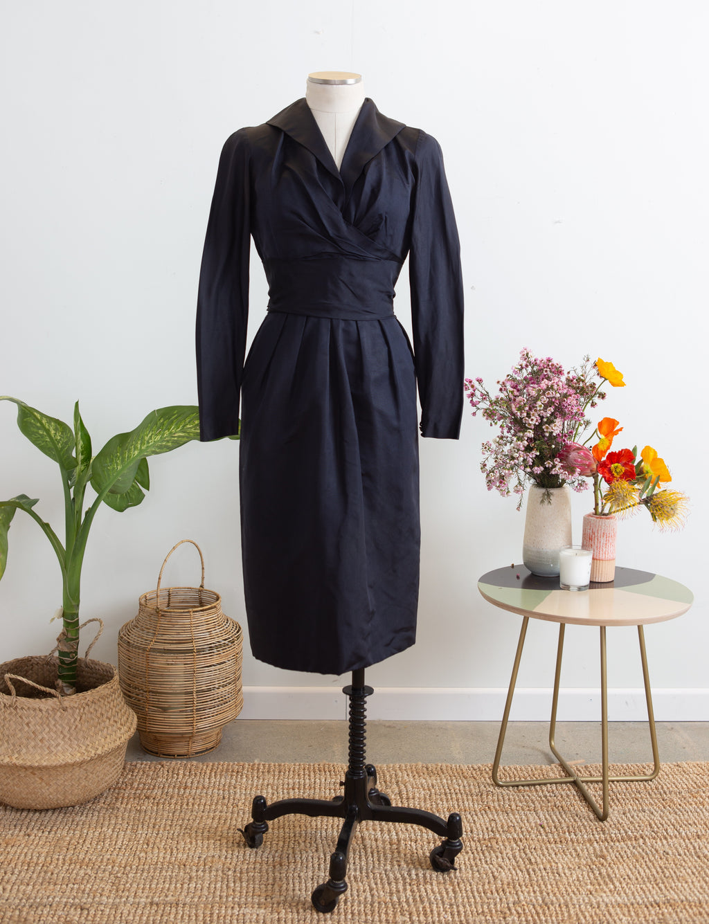 50s Ceil Chapman Navy Faille Dress, S M