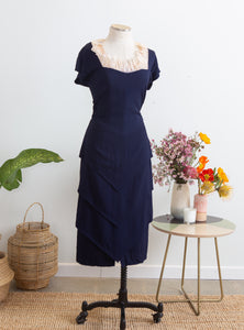 1940s Howard Greer Navy Blue Day Dress, M