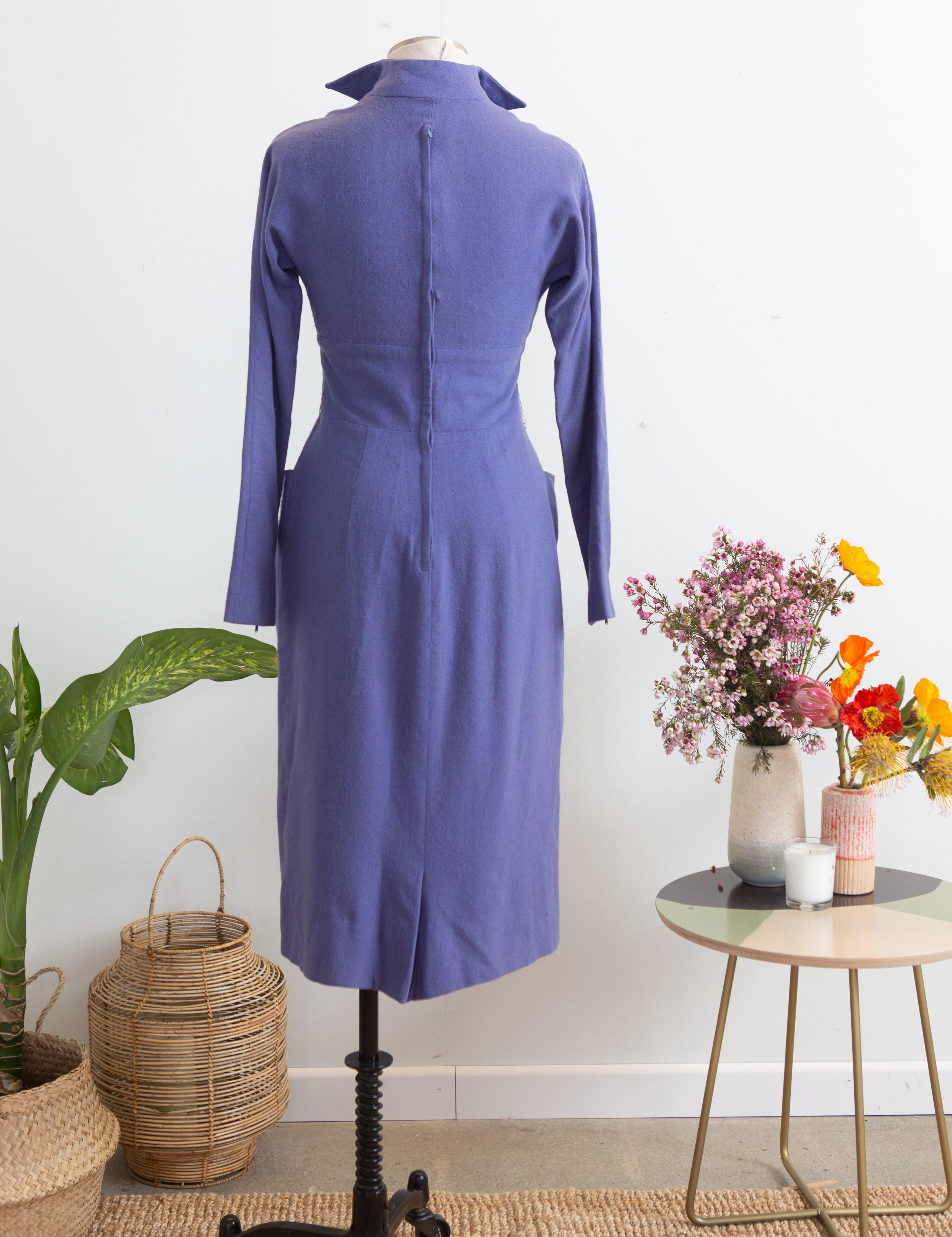 1950s Beaumelle Periwinkle Wool Wiggle Dress, S M