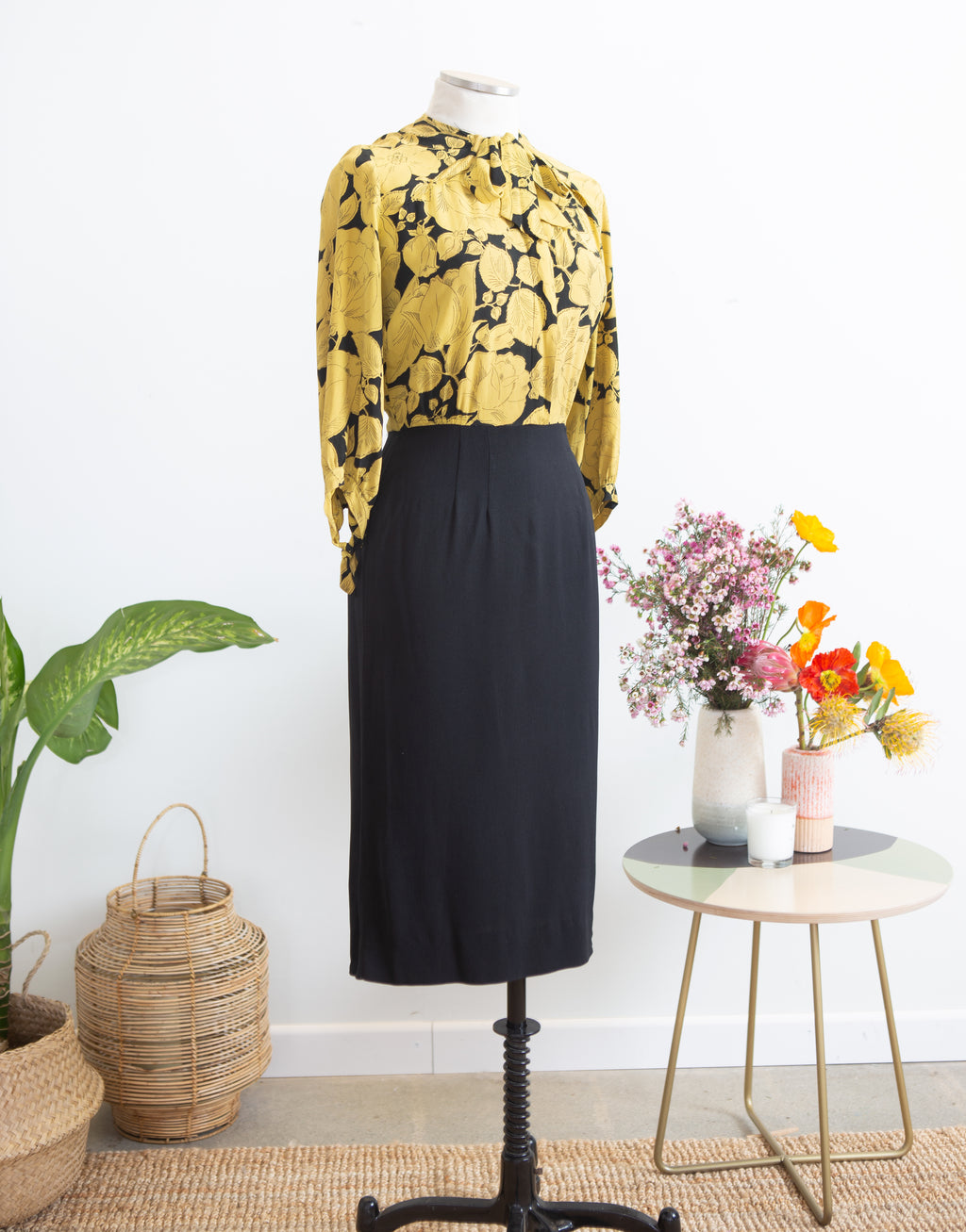 1940s Jean Carol Yellow Floral Day Dress, S M
