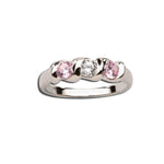 Sterling Silver Baby Ring with Twisted Band and Triple CZ Stones (BR-03-Pink/Clear)