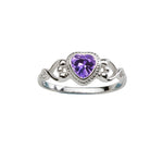 Sterling Silver Heart Baby Ring (BR-43-Amethyst)