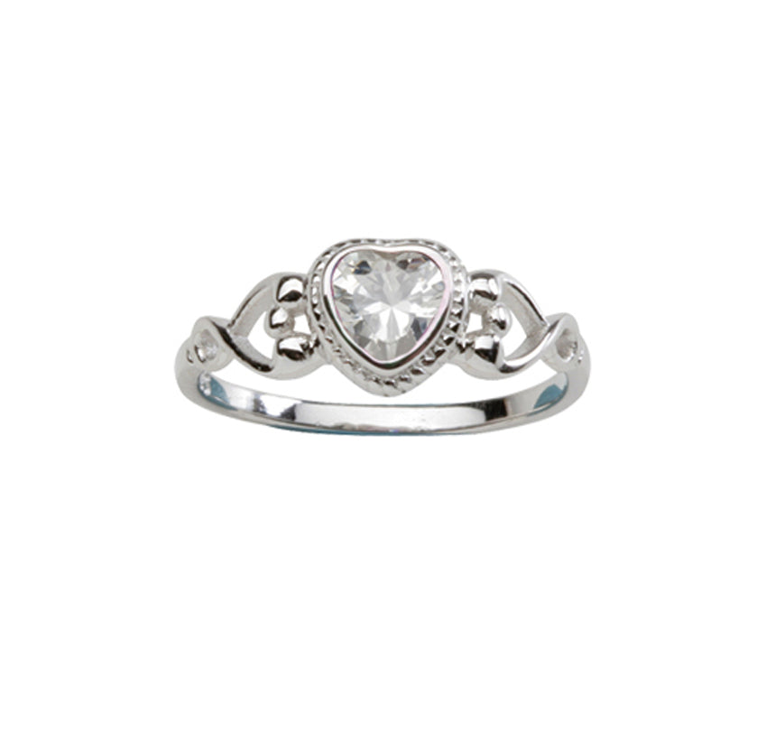 Sterling Silver Heart Baby Ring (BR-43-Clear)