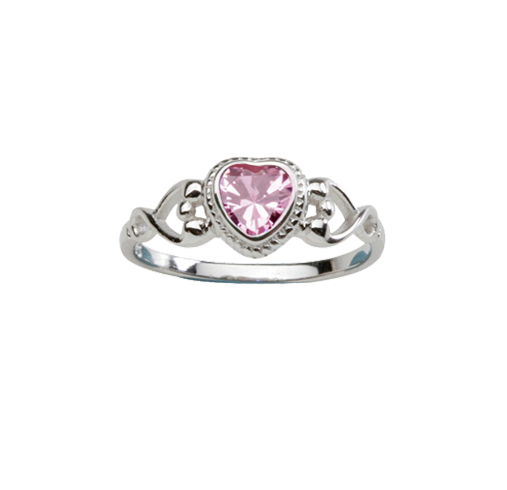 Sterling Silver Heart Baby Ring (BR-43-Pink)