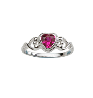 Sterling Silver Heart Baby Ring (BR-43-Ruby)
