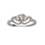 Sterling Silver Baby Ring with Double Hearts and Clear CZs (BR-68-Clear)