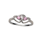 Sterling Silver Baby Ring with Double Hearts and Pink CZs (BR-68-Pink)