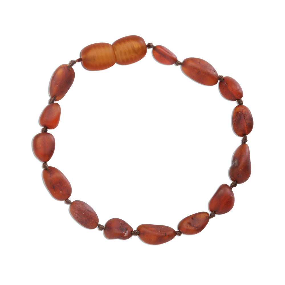 Amber Teething Bracelet - Light Cherry Unpolished Raw (ATBU-Light Cherry)