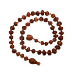 Amber Teething Necklace - Dark Cognac Baroque Unpolished Raw (ATNU-BQ-Dark Cognac)