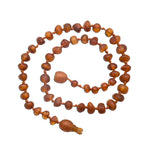 Amber Teething Necklace - Lt. Cherry Unpolished Baroque Raw (ATNU-BQ-Lt. Cherry)