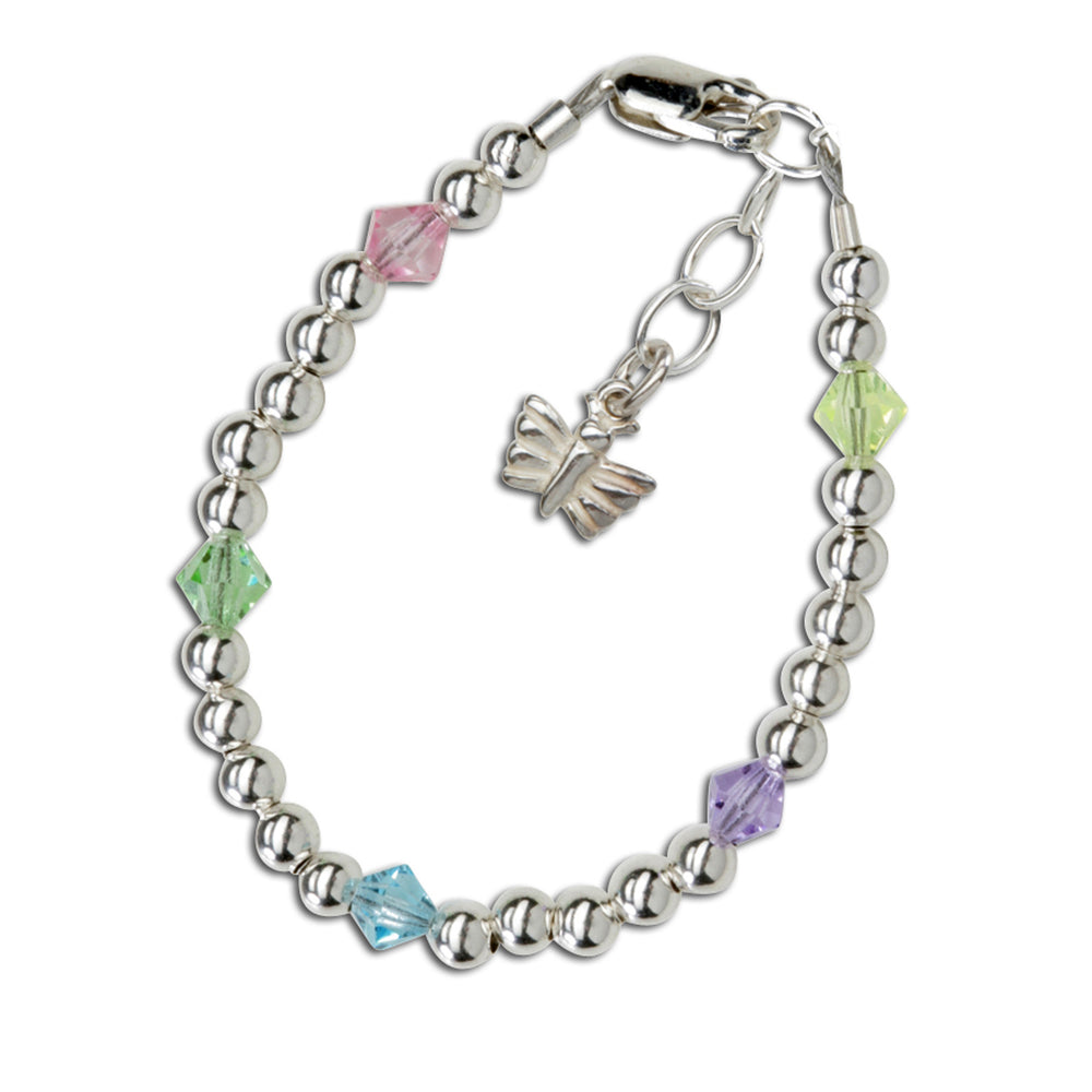 Ashley - Sterling Silver Multi-color Butterfly Bracelet
