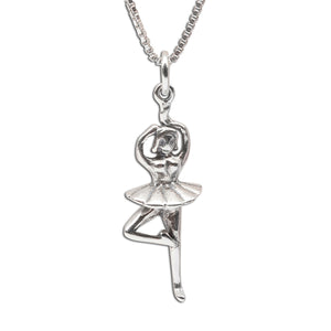 Sterling Silver Ballerina necklace for little girls recital gift