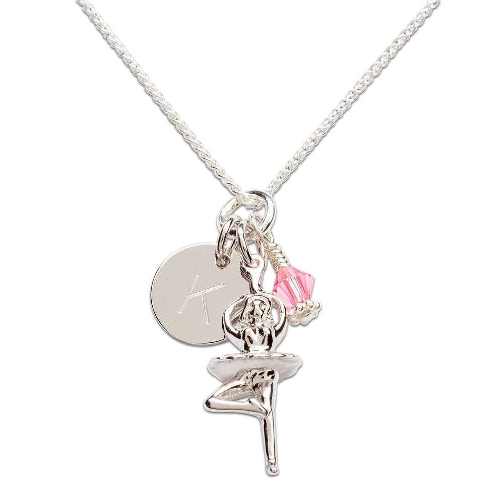 Sterling Silver Personalized Ballerina Necklace (BCN-Ballerina Cluster/Initial)