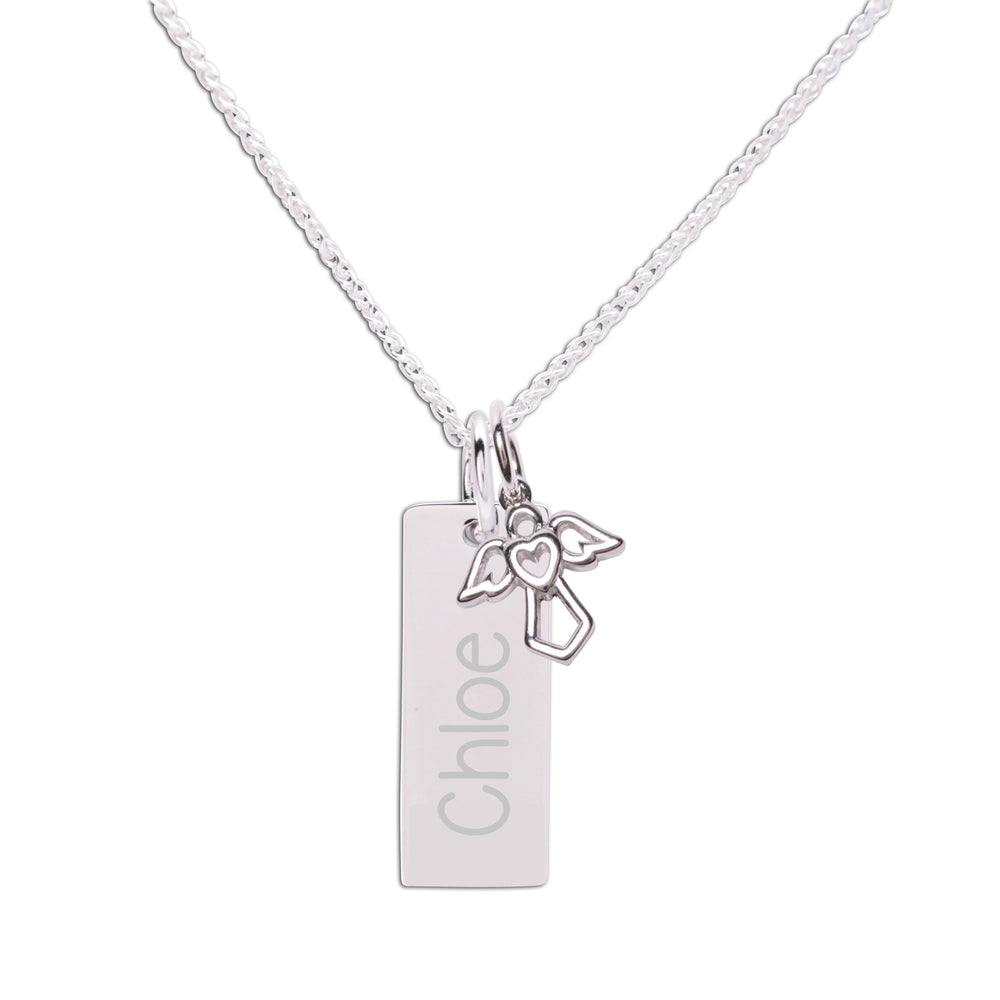 Sterling Silver Bar Necklace with Angel Charm (BSN-Bar w/Angel)