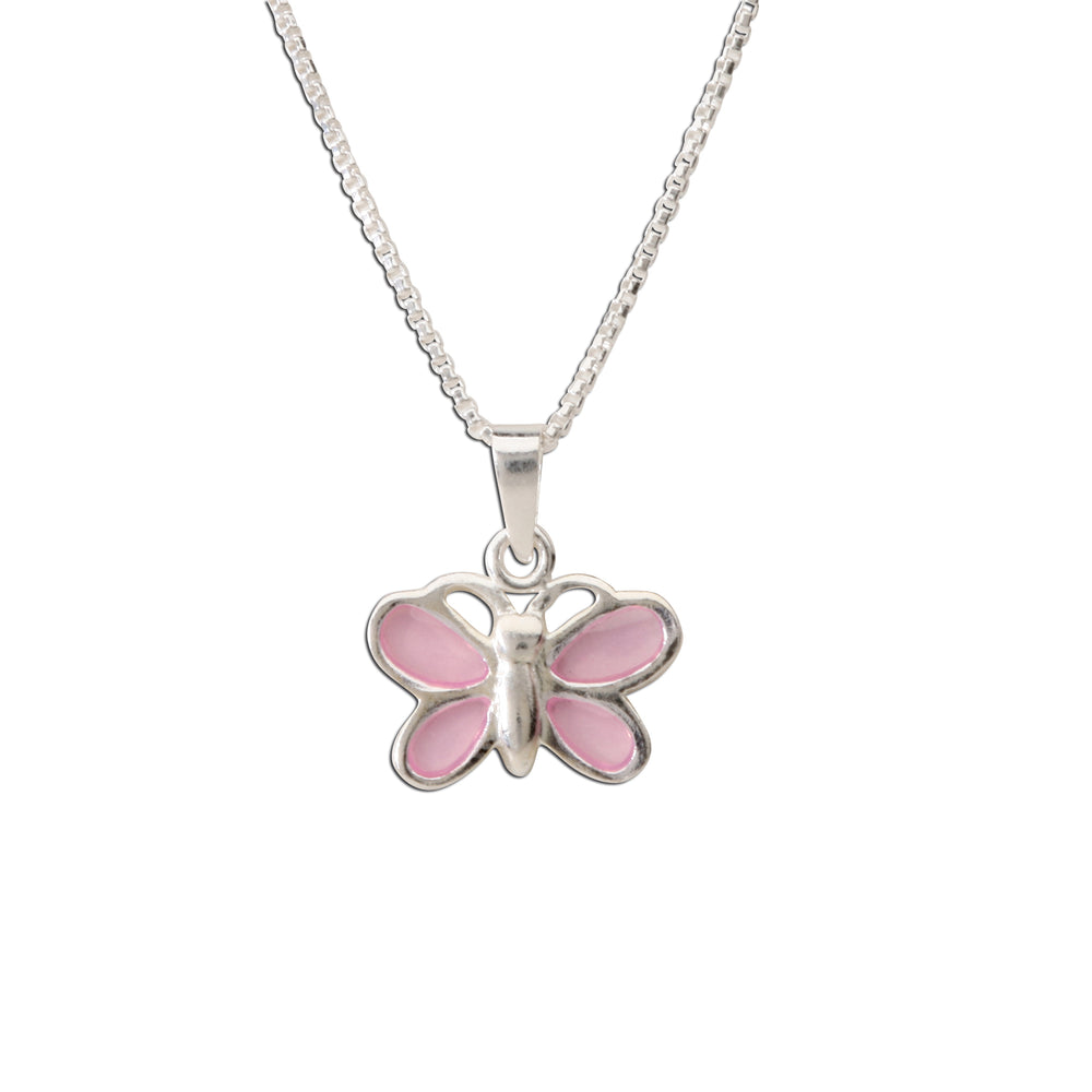 Sterling Silver Pink Butterfly Charm Necklace for Little Girls