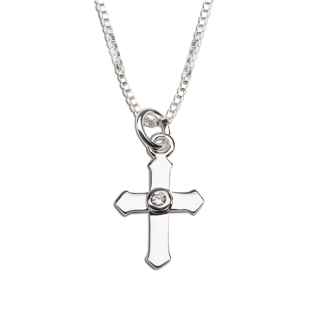 Children's sterling silver cross necklace for little girls