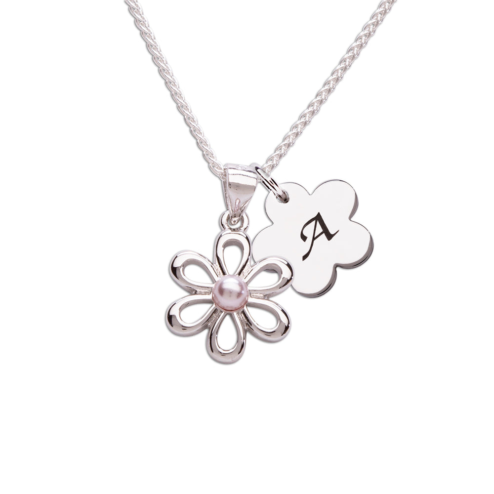 Sterling Silver Daisy Necklace (BCN-Daisy-Pink Pearl)