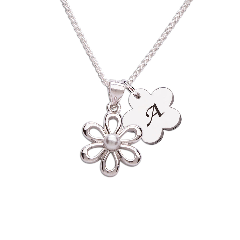 Sterling Silver Daisy Necklace (BCN-Daisy-White Pearl)