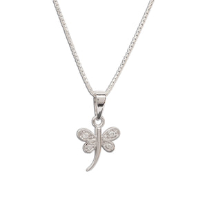 Little girls sterling silver dragonfly pendant charm necklace