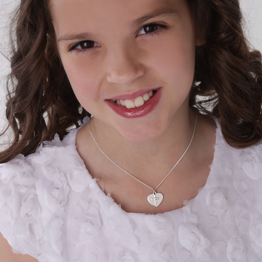 Sterling Silver Children's Engraveable Heart with Cross Necklace (BCN-Engrave Heart w Cross)