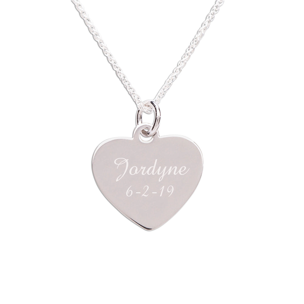 Sterling Silver Children's Personalized Heart Necklace (BCN-Heart Engrave Silver)