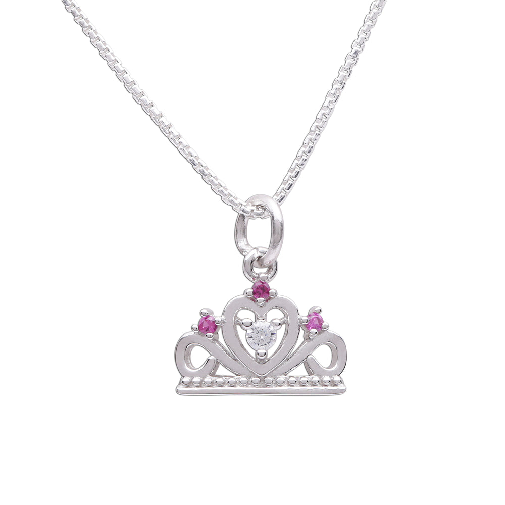 Sterling Silver Princess Tiara Necklace for Little girls