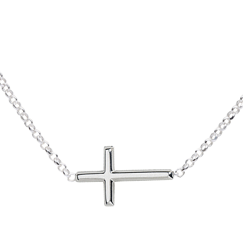 Children's Sterling Silver Side ways cross necklace for little girls