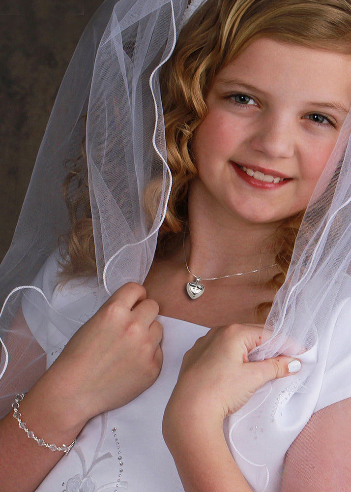 Girls First Communion Locket with Cross Necklace