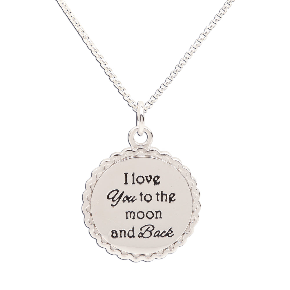 Sterling Silver I Love You to the Moon and Back Necklace (BCN-Moon and Back)