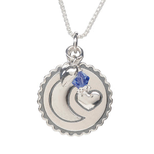 Sterling Silver 'Moon and Back' Birthstone Necklace (BSN-MB-Month)