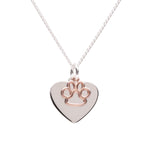 Sterling Silver Personalized Paw Heart Necklace (BCN-Paw Heart Rose Gold)