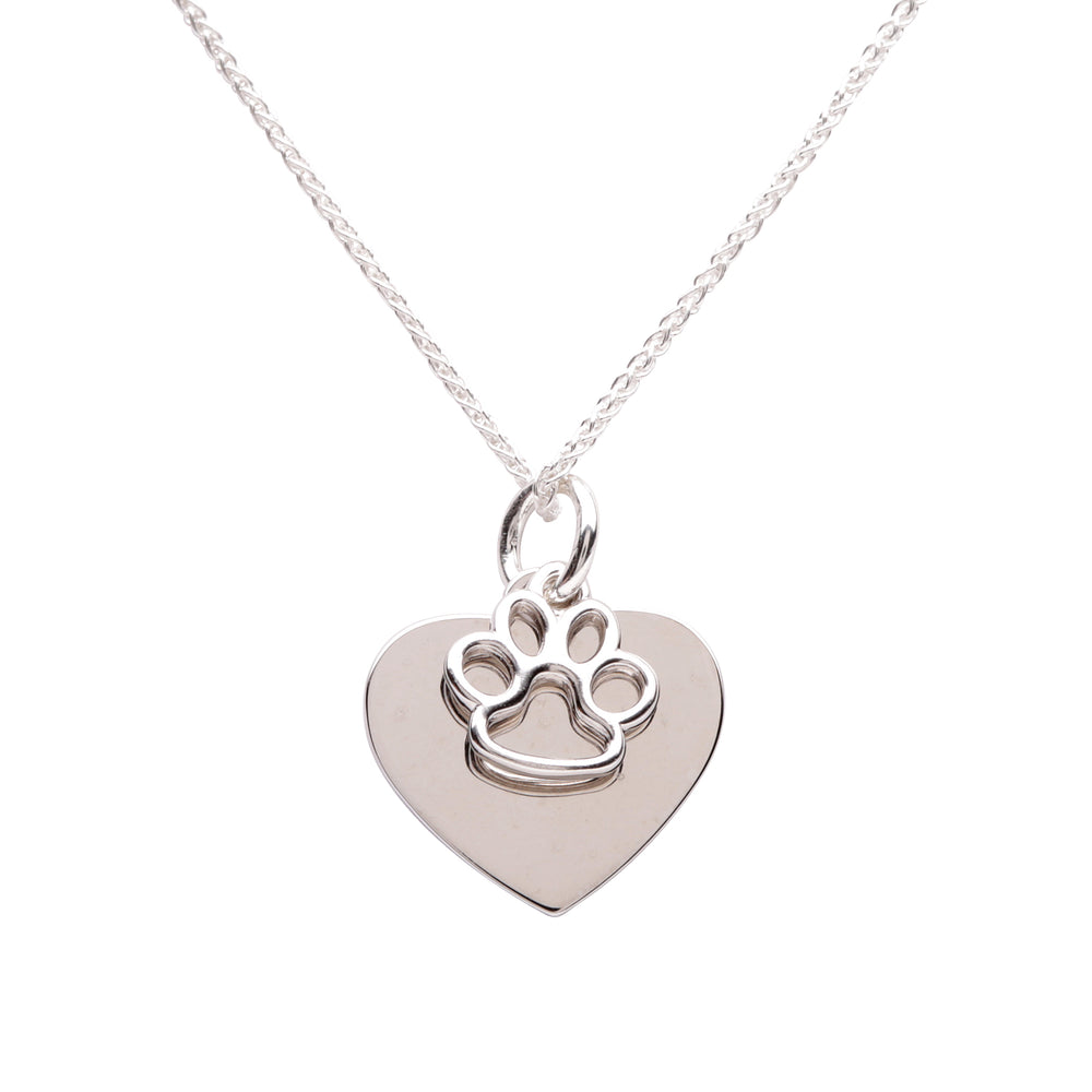 Sterling Silver Personalized Paw Heart Necklace (BCN-Paw Heart Silver)