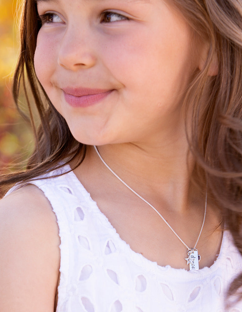 Load image into Gallery viewer, kids silver dance necklace for children's dance recital gift