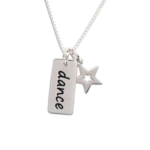 Sterling silver dance bar necklace for little girls recital gift