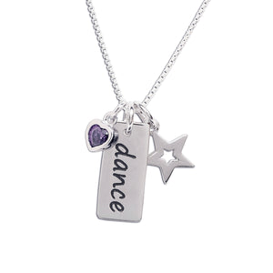 Girls Sterling silver dance charm with purple charm
