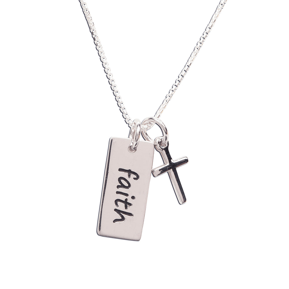 Sterling Silver Faith Bar Necklace for Little Girls First Communion