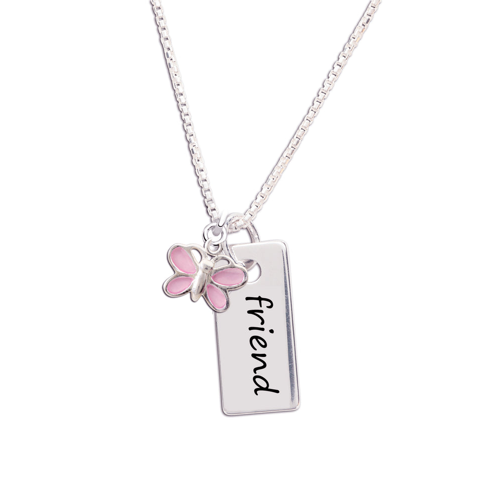 Kids friend necklace with butterfly charm