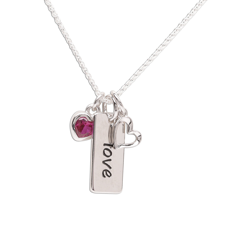 Children's sterling silver love necklace for kids