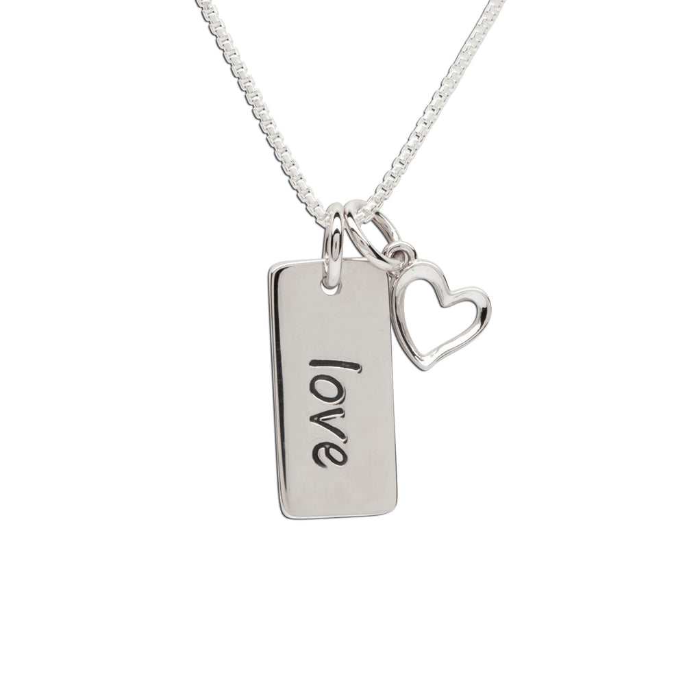 Sterling Silver love bar necklace for girls, girlfriends