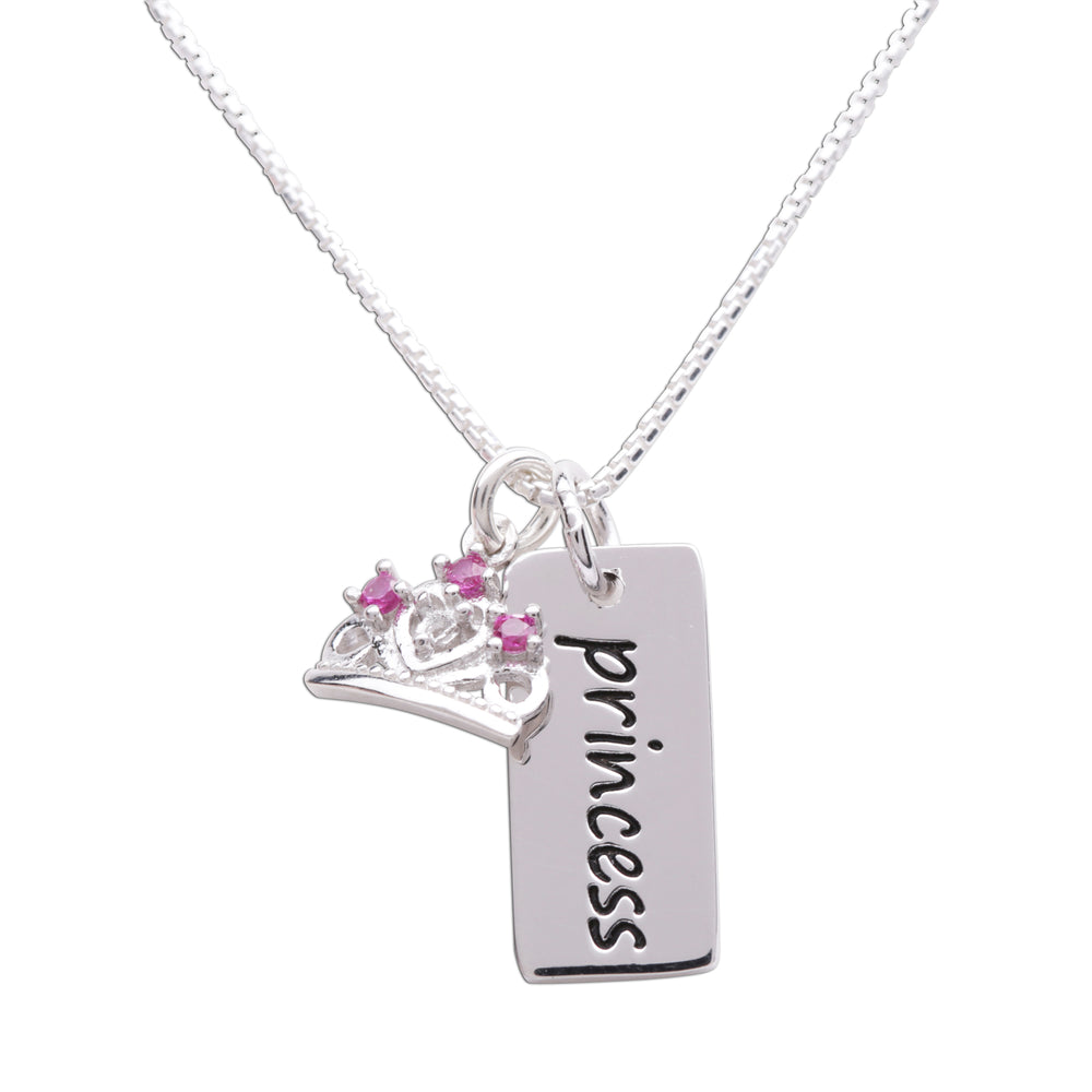 Sterling Silver Princess Bar Necklace for Little Girls