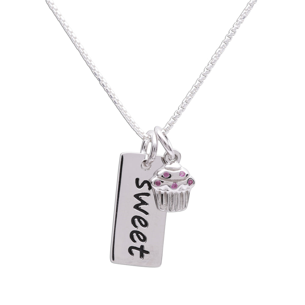 Sterling Silver Sweet cupcake bar necklace for little girls