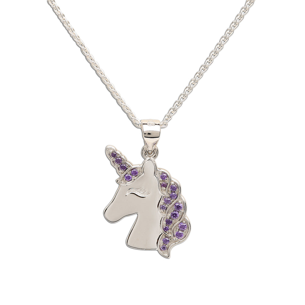 Load image into Gallery viewer, Sterling Silver Unicorn Necklace (BCN-Unicorn-Lav)